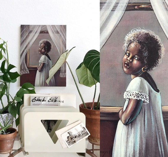 little black african baby girl portrait | lithograph print wall hanging art