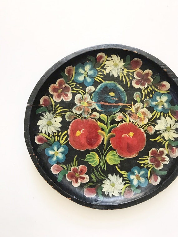 large old hand painted batea mexican wood bowl / wall hanging