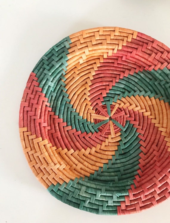 "17"" large woven straw bright green orange southwestern star wall hanging basket"