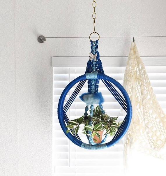 vintage blue circle macrame hanging plant holder   planter