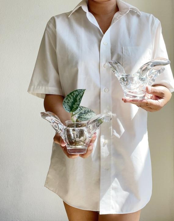 chunky glass bird dove flower planter vase / tea light candleholder