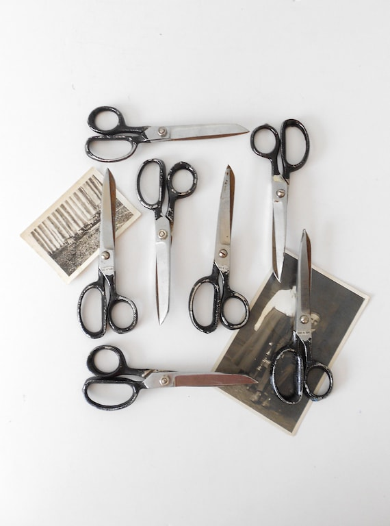 old retro 1960s black industrial school office scissors / single pair