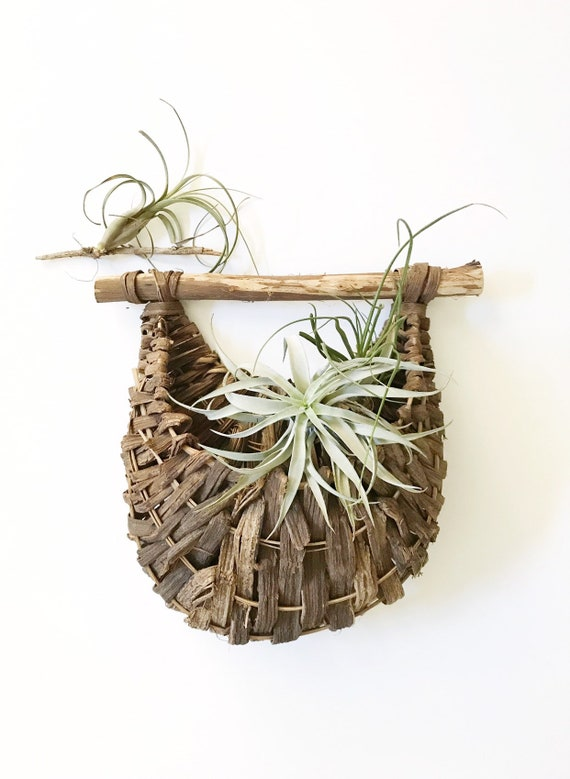 vintage wicker woven wall hanging basket with pocket / planter