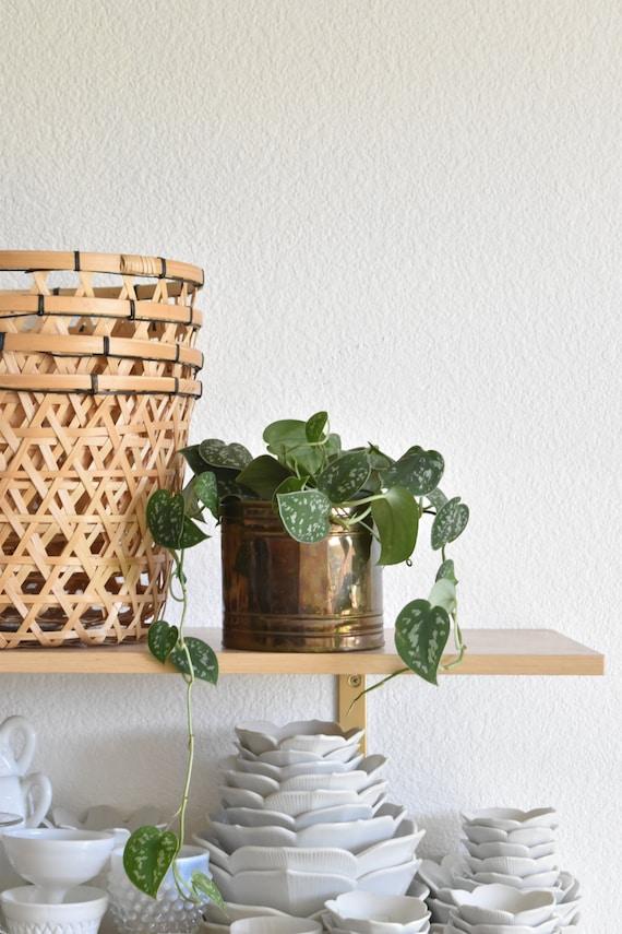 hollywood regency solid brass small planter / flower pot