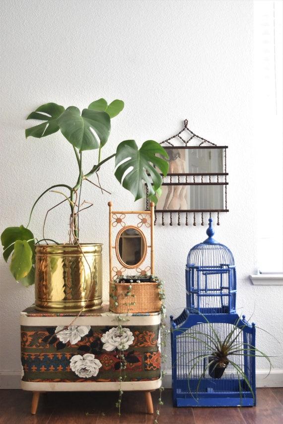 large vintage hollywood regency lacquered brass pot planter / indoor gardening