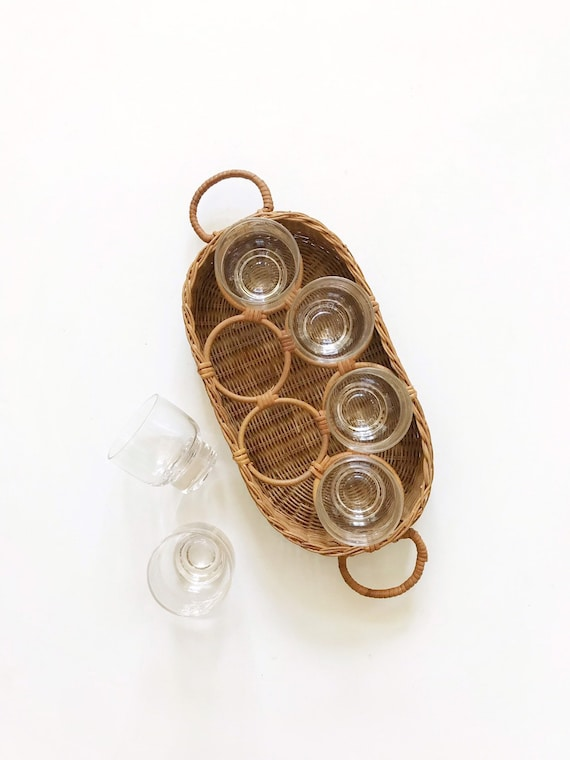 mid century woven wicker cocktail caddy set / tumbler cup holder inserts