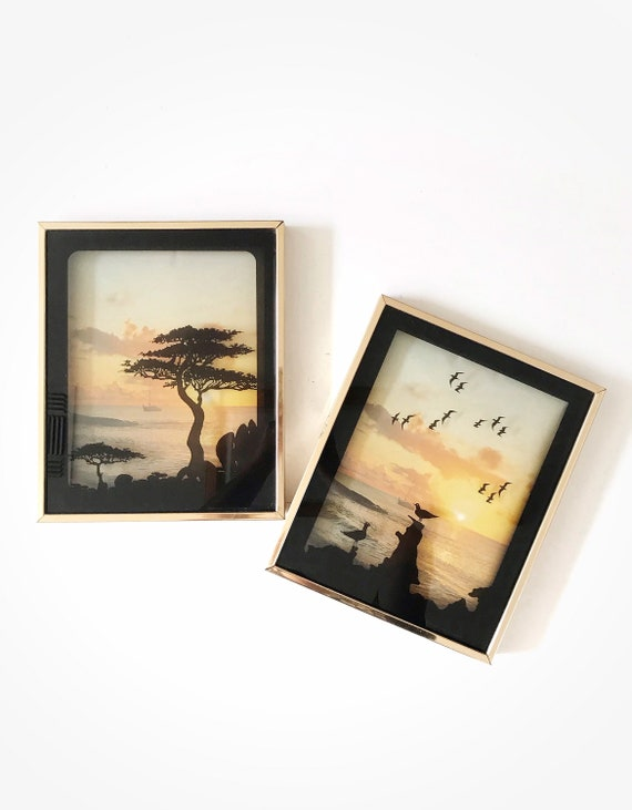 retro vintage seagulls and sun mirror art | wall hanging sunsetting sunset glass art