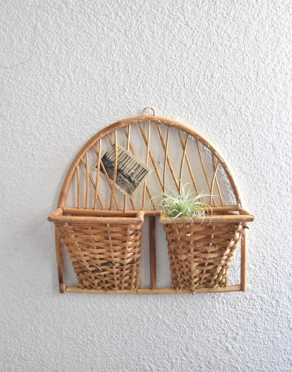 mid century woven wall hanging file mail storage basket etsy. Black Bedroom Furniture Sets. Home Design Ideas