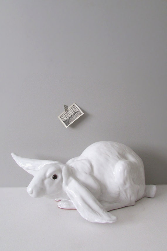 large real size white ceramic bunny rabbit figurine / baby nursery decor