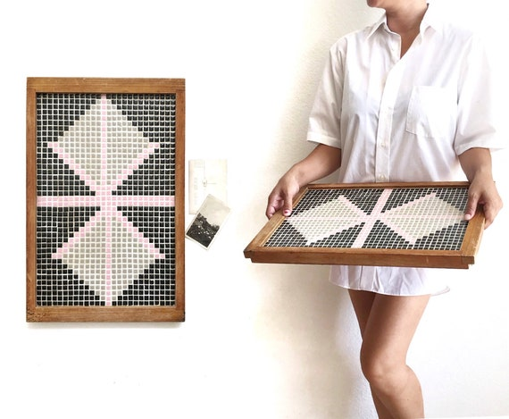 black pink mosaic tile wood tray | butterfly art trivet