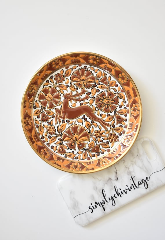 handmade ceramic hand painted floral deer wall hanging plate | wall basket | fall home decor