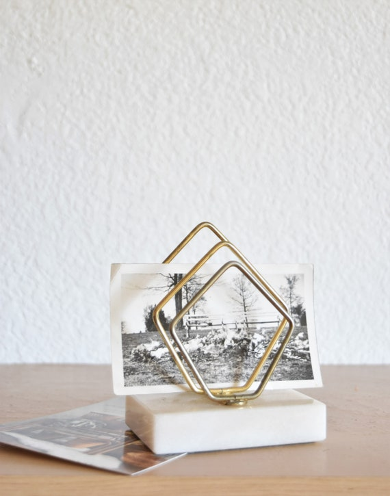 mid century marble brass file letter holder / desk top storage
