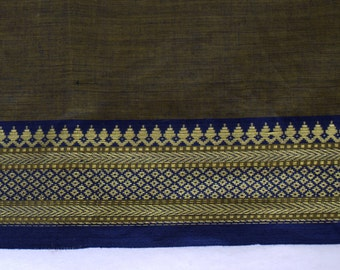 Handloom cotton fabric in Brown and Blue - One yard Yard  VMC 13