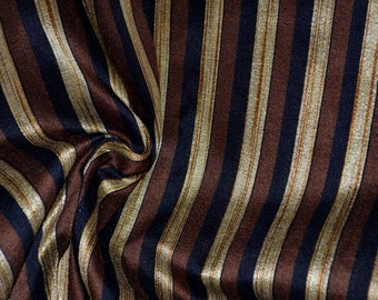 Brown,Black and Gold stripes on hand-loom cotton silk, One yard