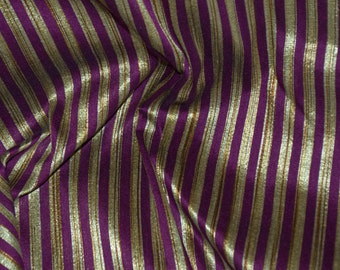 Eggplant and Gold stripes on hand-loom cotton silk, One yard