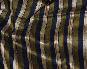 Olive Green black and Gold stripes on hand-loom cotton silk, One yard