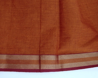 Handloom cotton fabric in Orange  - One yard Yard  VMC 6