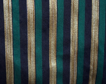 Dark Teal, Black and Gold stripes on hand-loom cotton silk, One and quarter yard