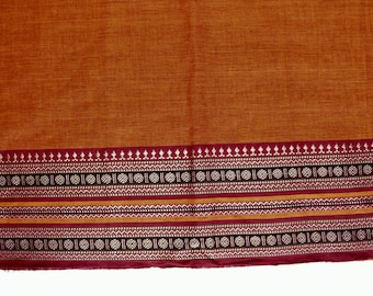 Handloom cotton fabric in Orange - One yard Yard  VMC 11