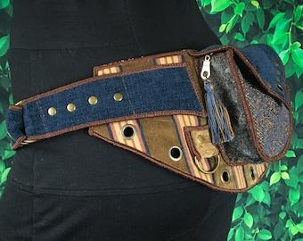 Festival Utility belt - Denim Blue Tan - Utility belt - Pocket Belt - Rave - Fanny pack
