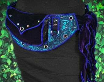 Festival Utility belt with Ties - Deep Blue - Costume - Pocket Belt - Fanny pack
