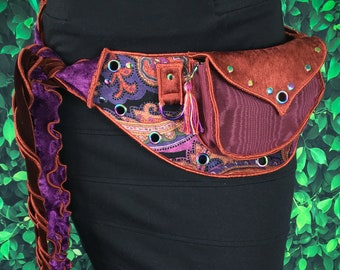 Festival Utility belt with Ties - Orange and Purple Paisley - Costume - Pocket Belt - Fanny pack