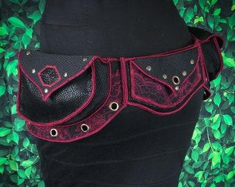 Festival Utility belt - Red and Black Paisley - Costume - Pocket Belt - Fanny pack