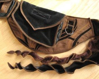Festival Utility belt - Brown and Black Waves - Boho - Costume - Pocket Belt - Fanny pack