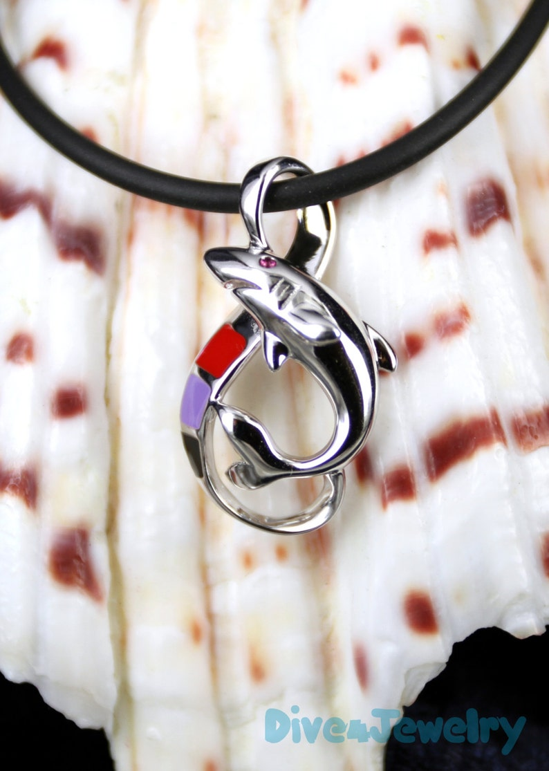 Colorful Shark Pendant Sterling Silver Enamel Pendant with Ruby eye with  Black Neoprene Cord Necklace