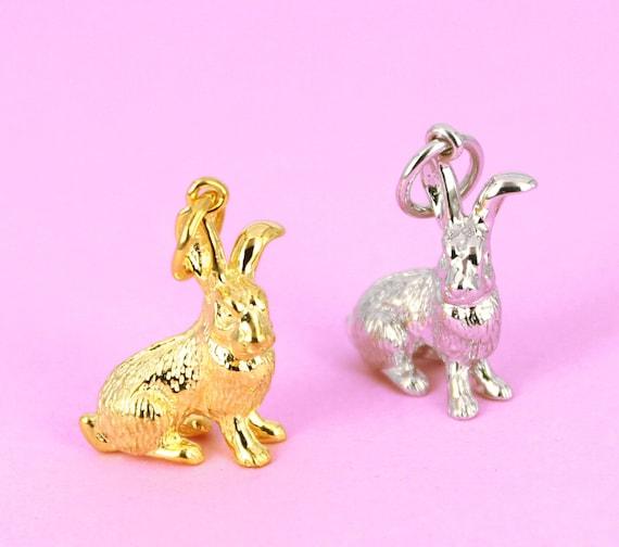 9ct Yellow Gold Cute Bunny Rabbit Animal Pet Hollow Bracelet Charm Pendant Gift