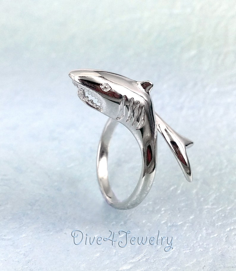 Shark Ring in Sterling Silver Great White Shark Wrap Ring Size Adjustable  Size 3 to 11 Shark lover ocean Sealife scuba diver jewellery gift