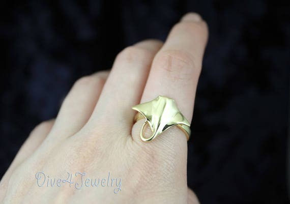 Spotted Eagle Ray Ring in Solid 925 Sterling Silver Wrap Ring Size Adjustable Ocean Beach Sealife Scuba Diver Jewelry