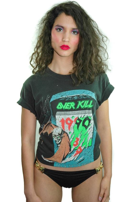 Vintage OVER KILL Shirt 1990s Tour Concert shirt B