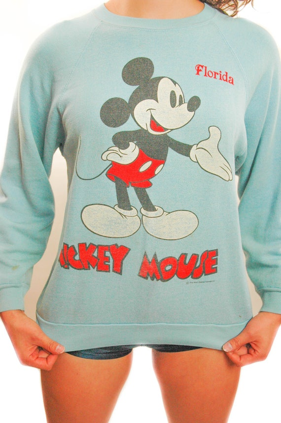 Vintage Mickey Mouse Sweatshirt 1980s Baby Blue Di