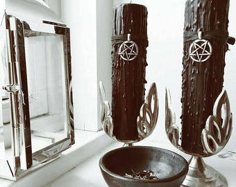 Witches black magic candle, gothic dinner candle, goth candles, satanic rites, curio home decor candle, Witchcraft spell candle, ritualist