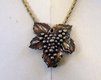 Large Coppery Brass Dress Clip Chain Necklace