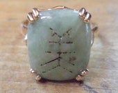 Vintage 10K Jadeite Jade Ring Chinese Symbol Character Size US 7 1 2 Carved Light Jade 10K Ring