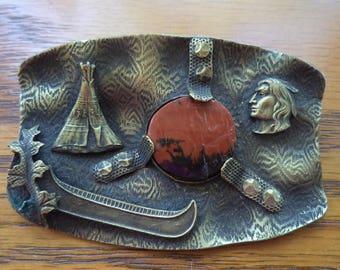Antique Victorian Sash Pin Brooch Native American Symbols Pictorials
