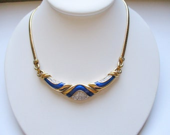 eb572b767 Signed 925 Gold Plate 1980s CZ Enamel Vermeil 925 Sterling Necklace  Fantastic Statement Jewelry