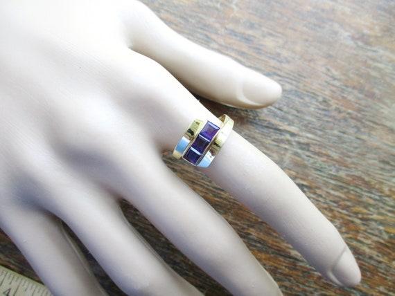 14K Amethyst Ring Modernist Ring Square Amethyst R