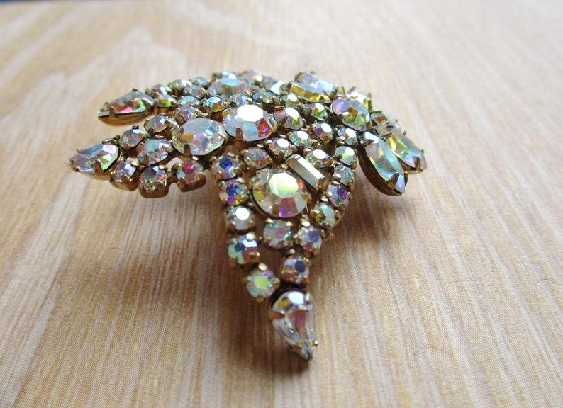 Signed SHERMAN AB Rhinestone Brooch Tulip Bells Tiered Rhinestone Sherman Jewelry