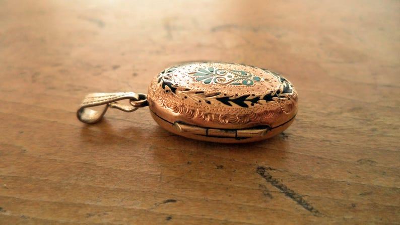 Antique Victorian Gold GF Blue Black Enamel Victorian Mourning Locket Photo Locket Antique Jewelry