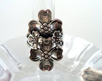 Vintage Oblong Sterling Silver Dogwood Ring Adjustable Signed ST