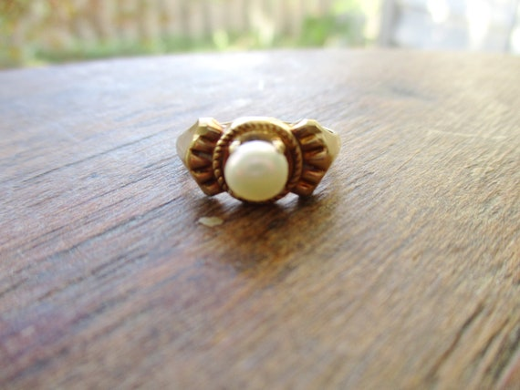 Antique 12K Pearl Ring Genuine Pearl Pinkie Ring A