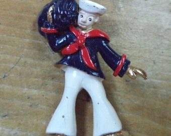 Vintage Sailor Brooch Nautical Brooch Enamel Sailor Jewelry Gift for Mom Wife Sweetheart Military Service