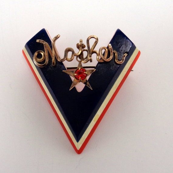 Large WWII Victory Pin V for Victory Red White Blu