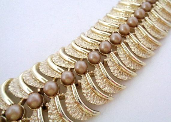 SALE Signed KRAMER Gold Tone Pearl Bracelet