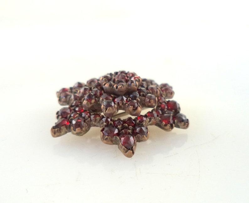 Antique Victorian Garnet Brooch Czech Garnet Pin Bohemian Garnet Pin Deep Red Garnets Antique Jewelry Antique Garnet Jewelry Victorian Pin