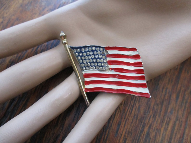 Signed Coro Patriotic Flag Brooch WWII Sweetheart Jewelry USA Flag Brooch 48 Star Flag Brooch