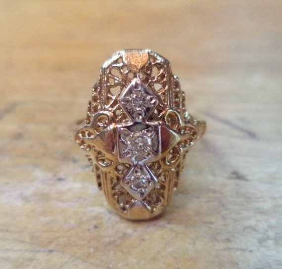 Antique Diamond Ring 10K Diamond Filigree Ring Ant